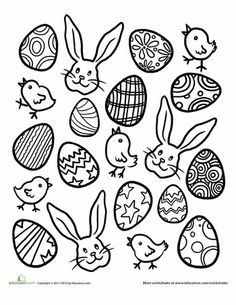 Worksheets: Printable Easter Activities: Easter Eggs