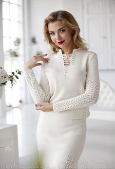 """Milky white suit for ladies, knitted skirt suit woman suit """"Gelato"""" nice milky color, delicate openw Skirt Outfits, Chic Outfits, Pretty Outfits, Dress Suits, Skirt Suit, Knit Skirt, Knit Dress, Suits For Women, Clothes For Women"""
