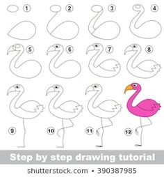 Drawing Doodle Easy Drawing tutorial for children. How to draw the funny Flamingo - Easy Drawing Tutorial, Drawing Tutorials For Kids, Easy Drawings For Kids, Drawing For Kids, Art For Kids, Children Drawing, Doodle Drawings, Art Drawings Sketches, Cute Drawings