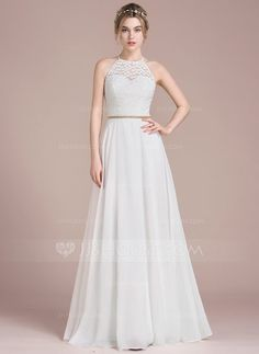 [US$ 127.69] A-Line/Princess Scoop Neck Floor-Length Chiffon Lace Prom Dress With Beading (018116379)