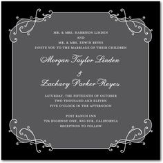 Signature White Wedding Invitations Formal Frame - Front : Navy