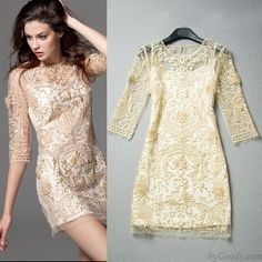 Unique Palace Printed Hollow Out  Embroidered Lace Party Dress