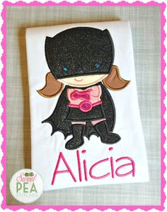 Girls Embroidered Superhero Shirt  by SweetPeaStitches84 on Etsy