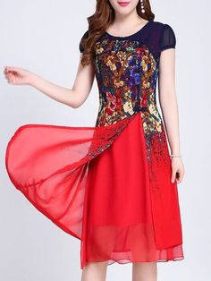 Round Neck Slit Floral Printed Maxi Dress # Daily update comfy women's casual styles, big everyday Dresser, Dress Outfits, Fashion Dresses, Dress Clothes, Dress Shirts, Polka Dot Maxi Dresses, Dress Plus Size, Dress Silhouette, Floral Chiffon