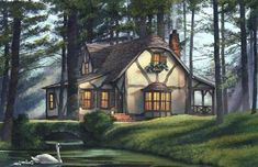 William E Poole Designs - Once Upon A Time - this cottage can be built fast.Imagine having your DreamHome delivered to your site complete within 90 days — It's simply amazing! Cottage Floor Plans, Cottage House Plans, Small House Plans, Cottage Homes, House Floor Plans, Cottage Tudor, Witch Cottage, Witch House, Spooky House