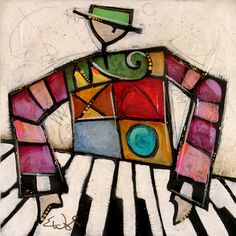 Artwork by Eric Waugh at the Nan Miller Gallery Cubist Paintings, Jazz Club, Illustrations And Posters, Artist Names, Art Boards, Art Lessons, Sketching, Concept Art, Abstract Art