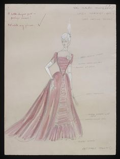 Costume design by Anthony Holland for Ursula Jeans in the 1965 production of An Ideal Husband.  From the V