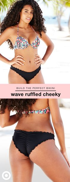 Got bikinis on the brain? Try Shade & Shore's chic Wave bottom with delicate ruffles and a ruched seam in back. The low-rise style has less back coverage than a traditional cut, allowing you show a little more while still offering a great fit. Choose from variety of colors and patterns, then pick your favorite Shade & Shore bra-size bikini top (mix and match!). Bonus: free shipping & returns makes it easy to order multiple sizes and styles, and then decide what you'd like to keep.