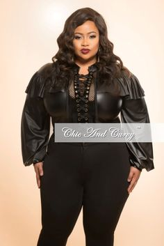 3fd981ec1db Plus Size Liquid Top with Suede Lace Up Center in Black – Chic And Curvy