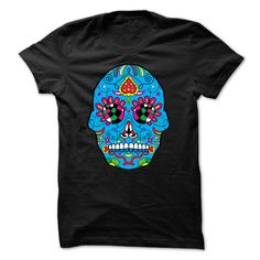 Day Of The Dead Blue Sugar Skull T-Shirts, Hoodies. GET IT ==► https://www.sunfrog.com/Holidays/Day-Of-The-Dead-Blue-Sugar-Skull-.html?id=41382
