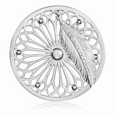 Nikki Lissoni Dreamcatcher Dangle Coin (large, silver tone, clear Swarovski® Elements)