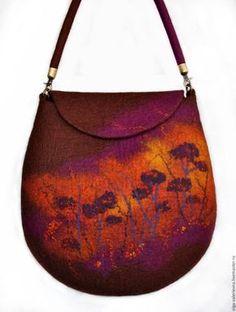 Купить Сумка На закате. - коричневый, фиолетовый, оранжевый, закат, сумка ручной работы