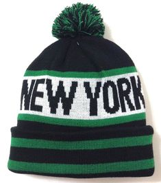 cddbb8b5aa4 NEW YORK POM BEANIE Jets Colors Black Green White Winter Knit Ski Hat Men Women   KBTrading  Beanie