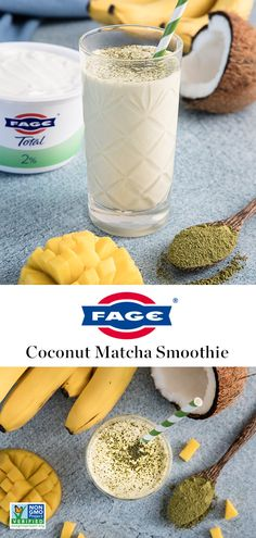 A delicious, nutritious morning pick-me-up: Coconut Matcha Yogurt Smoothie. Breakfast Smoothies, Healthy Smoothies, Healthy Drinks, Healthy Snacks, Breakfast Recipes, Healthy Detox, Matcha Smoothie, Smoothie Drinks, Smoothie Recipes
