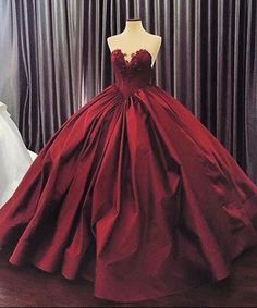 Crimson matte satins sweetheart lace A-line ball gown dresses,gradustion dress for teens