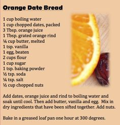 ORANGE DATE BREAD: Mrs. Cowan's prize-winning fruit bread in the Quick Breads category of Home Activities was shared in Mary Hart's article in the Minneapolis Tribune Sept. 5, 1953.