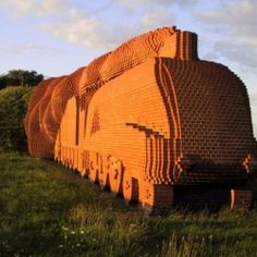 This massive brick train sculpture was commissioned and created by David Mach. It stores a number of time capsules donated by local schools.
