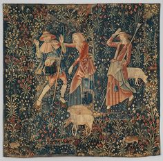 In this tapestry we witness the antics of a shepherd and two shepherdesses in the fields. An older woman grabs a shepherd and he raises his hand in protest while a younger shepherdess, at the right, also raises her arm