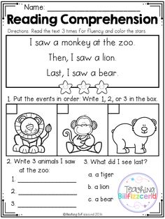 FREE Sequencing Reading Comprehension For Beginning Readers // Set de actividades comprensión de textos para lectores recientes #reading #activities #printables