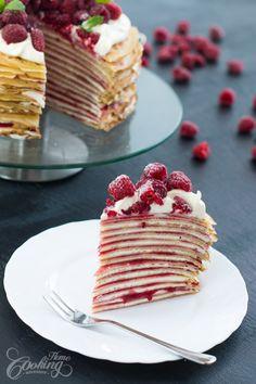 White Chocolate Raspberry Crepe Cake