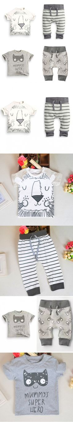Newborn 2016 Toddler Baby Clothing Sets Summer Outfits For Cat Tiger Cartoon T-shirt And Pants Black&white Lovley Boy Clothes