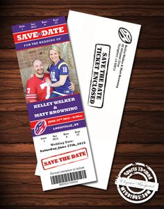 Football Themed event ticket Save the Date Magnets including envelopes for under $2.00!  #footballwedding #stwdotcom