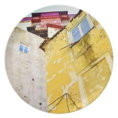 URBAN YELLOW HOUSE (LISBON) Plate $27.95 #kitchenaccessories #lisbon #lisboa #portugal #plate http://zazzle.com/gayriot*