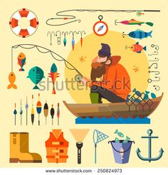 Fisherman in a boat fishing: fishing rod, hooks, bait, boat, fish, anchor, water, beard, chain, compass. Vector flat illustrations - stock vector