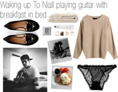 """""""Waking up To Niall playing guitar with breakfast in bed"""" by stef-morales ❤ liked on Polyvore"""
