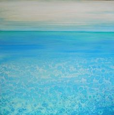 Acrylic Abstract Painting Large Original Art, Cool Sea 3-size 30x30 By Ava
