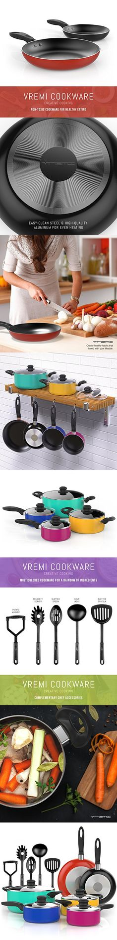 Vremi 15 Piece Nonstick Color Pop Cookware Set with Cooking Utensils - inc. Saucepans and Dutch Oven Pots with Glass Lids and Fry Pans for Saute - also has Spatula Slotted Spoons Masher and Soup Ladle