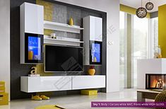 Living Room High Gloss Furniture Set Display Wall Unit TV Unit Cabinet Sky