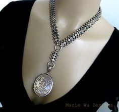 Antique Victorian Sterling Silver Book Chain Collar-Gold Overlay Hallmarked 1901 Locket Pendant Necklace
