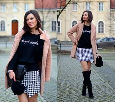 Zara Shoes, Front Row Shop Woolen Sweater, Front Row Shop Skirt, Zara Bag