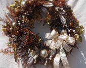 Christmas Wreath for Door Bronze Ornaments by marigoldsdesigns