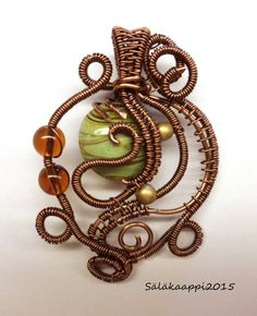 Wire Wrapped Pendant, Lampwork glass, Copper by Salakaappi on Etsy