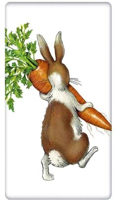 The true workhorse of any kitchen; the flour sack dish towel. Designed by Mary Lake Thompson, featuring a country rabbit, holding a prize garden spring carrot!