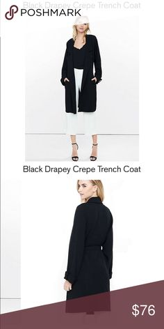 EXPRESS Black Drapey Crepe Trench Coat Never worn. On express.com for $128. Wide notched collar, open front. Soft cuffed sleeves. Slant hand pockets removable belt. Crepe construction draping fit. Polyester/elastane. Machine wash Express Jackets & Coats Trench Coats