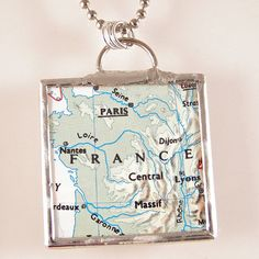 Map Pendant - 3 Rivers instead of France... with a heart