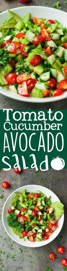 Healthy Tomato Cucumber and Avocado Salad is light fresh and full of flavor! Healthy Tomato Cucumber and Avocado Salad is light fresh and full of flavor! Cucumber Avocado Salad, Avocado Salad Recipes, Veggie Recipes, Avocado Toast, Vegetarian Recipes, Cooking Recipes, Healthy Recipes, Delicious Recipes, Vegetarian Salad