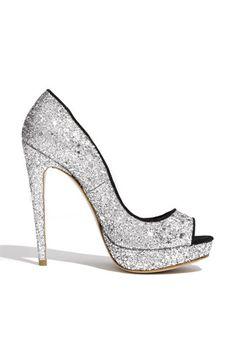 Miu Miu Glitter Open Toe Platform Pump  #sparkles