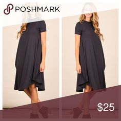 Charcoal Casual Dress Amazing flowy dress! Great with booties and a scarf. No trades and no holds. Happy Shopping  Dresses Midi