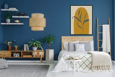 """American colour company Pantone has selected """"universal favourite"""" Classic Blue, or Pantone as its colour of the year for Pantone colour of the Cozy Bedroom, Bedroom Apartment, Modern Bedroom, Bedroom Decor, Bedroom Ideas, Master Bedroom, Bedroom Shelves, Bedroom Signs, Blue Bedroom"""