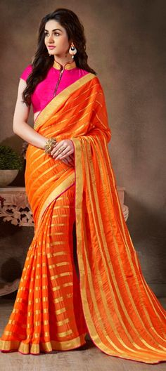 173767: Orange  color family Embroidered Sarees, Party Wear Sarees   with matching unstitched blouse.