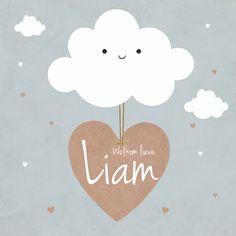 Wat een lief geboortekaartje voor een jongetje! #geboortekaartje #wolkje #geboorte #lief