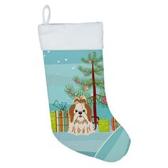 Caroline's Treasures Merry Christmas Tree Shih Tzu Black White Christmas Stocking at Lowe's. The stocking features your favorite breed with artwork from one of our artists. It has a suede feel to it and is machine washable.