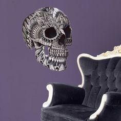 Ornate Skull Sticker Decal – Goth Wall Art by BioWorkZ