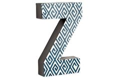 Letter Z, Navy Greek Key on OneKingsLane.com