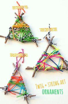 Easy Twig String Art Ornaments - http://www.oroscopointernazionaleblog.com/easy-twig-string-art-ornaments/
