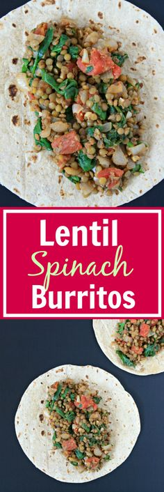 EASY, 8-ingredient Lentil Spinach Burritos! Healthy plant-fuel for busy…